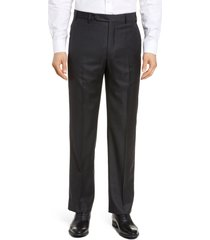 men's big & tall zanella todd relaxed fit flat front solid wool dress pants, size 44 x - grey