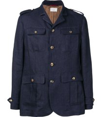 brunello cucinelli straight-fit military jacket - blue