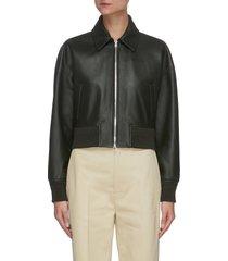 crop lambskin leather jacket