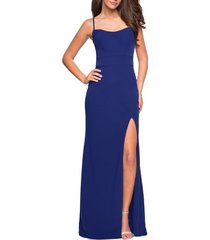 women's la femme strappy back jersey column dress