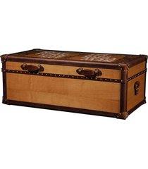baú mesa de centro de madeira trully com alças de couro