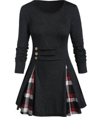 plus size buttoned plaid long sleeve tunic tee