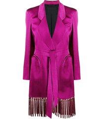 blazé milano tassel-trimmed double-breasted blazer - purple