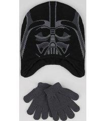 kit infantil de gorro darth vader star wars preto + luva em tricô cinza mescla escuro