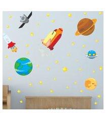 adesivo de parede quartinhos astronauta azul/amarelo