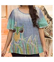 cotton batik blouse, 'forest owl' (thailand)