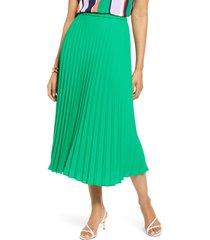 petite women's halogen pleated midi skirt, size x-large p - green
