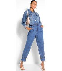 denim oversized mom jeans met gesp, middenblauw