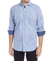 men's bugatchi classic fit geo print button-up shirt, size small - blue