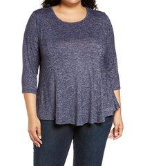 plus size women's bobeau brushed knit babydoll top, size 1x - blue