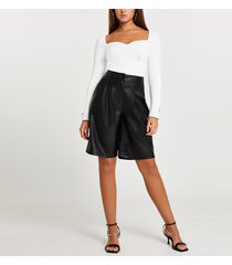 river island womens black faux leather pleated shorts