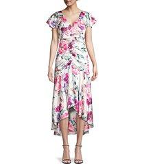parker black women's charlotte floral ruched dress - juliet white combo - size 2