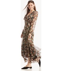 astr women's ls handkerchief hem midi dress in color: black multi floral size large from sole society