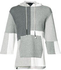 mostly heard rarely seen patchwork shortsleeved hoodie - grey