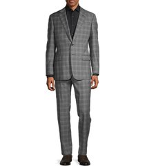 armani collezioni men's standard-fit plaid wool suit - grey - size 56 (46) r