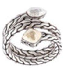 john hardy anel de voltas 'classic chain' de prata e ouro 18kt - prateado