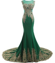 kivary gold lace sexy mermaid green tulle long prom formal evening dresses us 4