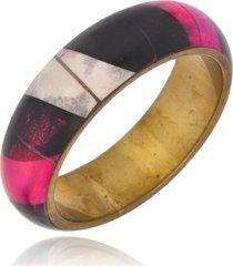 bracelete le diamond esmaltado mulitcolorido com ouro velho
