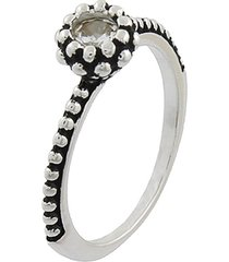 anel narcizza solitário com ponto de luz cristal e detalhes escuros banhado no ródio - tricae