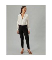 amaro feminino calça legging botões laterais, preto