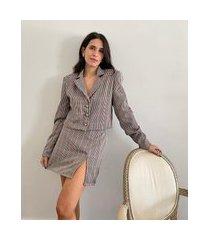 blazer feminino mindset cropped estampado xadrez multicor