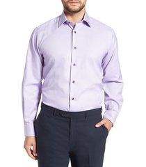 men's big & tall david donahue regular fit solid dress shirt, size 17.5 - 36/37 - purple