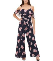 tommy hilfiger cold-shoulder floral-print chiffon jumpsuit