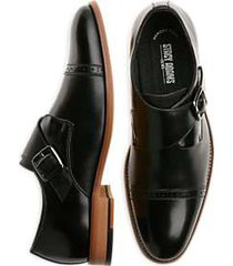 stacy adams desmond black cap-toe monk straps