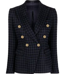 double-breasted checkered blazer