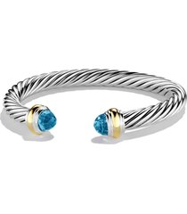 david yurman cable classics bracelet with semiprecious stones & 14k gold, 7mm, size small in blue topaz at nordstrom