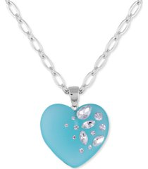 "guess crystal-frosted heart pendant necklace, 30"" + 2"" extender"