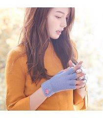 donna inverno calda lana lavorata a maglia cute mezze dita guanti plus velvet finger touch screen guanti