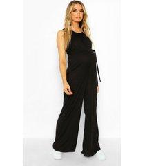 zwangerschap geribbelde jumpsuit met ceintuur, black