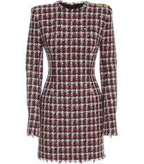 balmain short ls tweed dress