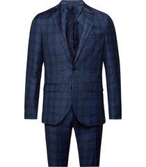 dust blue check kostym blå matinique
