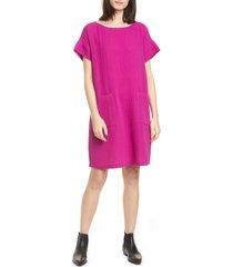 women's eileen fisher short sleeve organic cotton shift dress, size large - pink