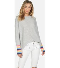 rupert le draped sweater - heather grey/multi l