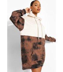 tie dye colour block sweatshirt jurk met capuchon, brown