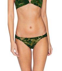 women's robin piccone eden side cut camo bikini bottoms, size x-small - green