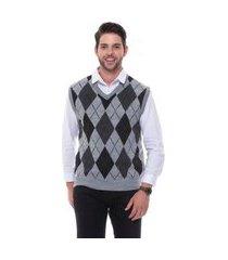 colete jacquard escocês passion tricot cinza claro