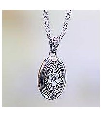 sterling silver pendant necklace, 'hibiscus gate' (indonesia)