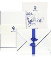 pineider designer writing instruments, capri - 25 white cards with handpainted blue border
