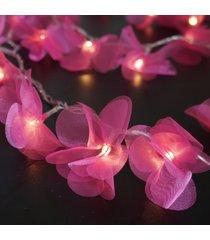 cordão de luz - luz de fada crie casa organza pompom rosa
