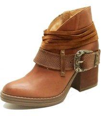 botin cuero valentina camel amano shoes