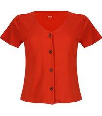 camiseta con botones color naranja, talla 10