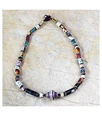 recycled paper beaded necklace, 'simply me' (ghana)