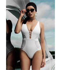 jets by jessika allen parallels v neck swimsuit white
