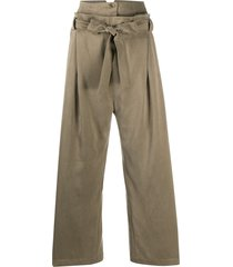 alysi belted wide-leg trousers - green