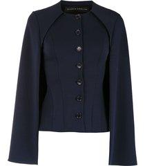 gloria coelho cape button up blouse - blue