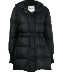 kenzo belted padded coat - black